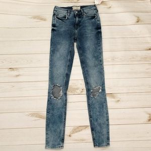 Free People Busted Knee Skinny Jeans 26 Long